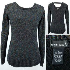 Black metallic Rainbow Threads Light Sweater Top L